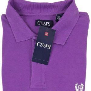 Chaps Short Sleeve Purple Pique Polo Shirt Size XL